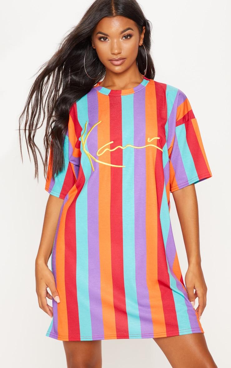 KARL KANI Multi Stripe Oversized T Shirt Dress