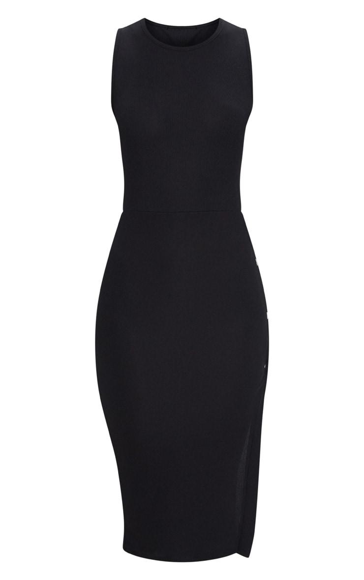 Black Ribbed Popper Split Detail Midi Dress 3