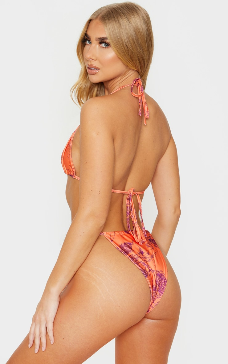 Top de bikini triangle orange floral 2