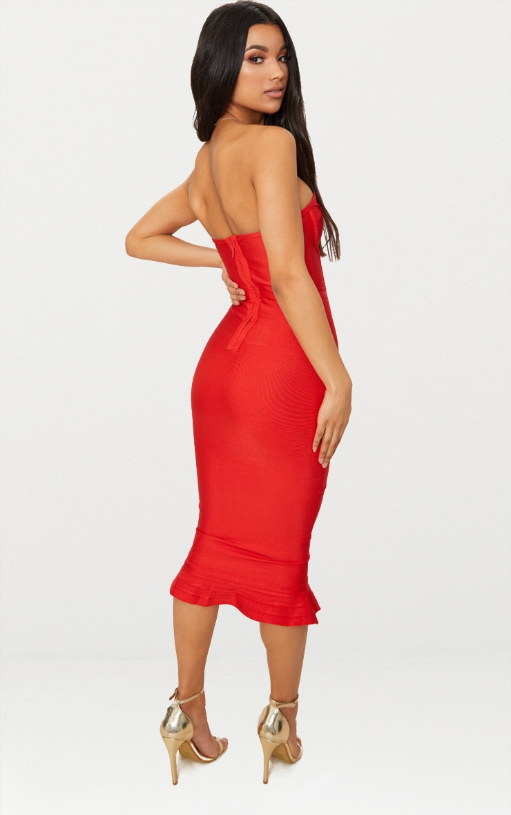 Red Bandage Frill Hem Midi Dress 2
