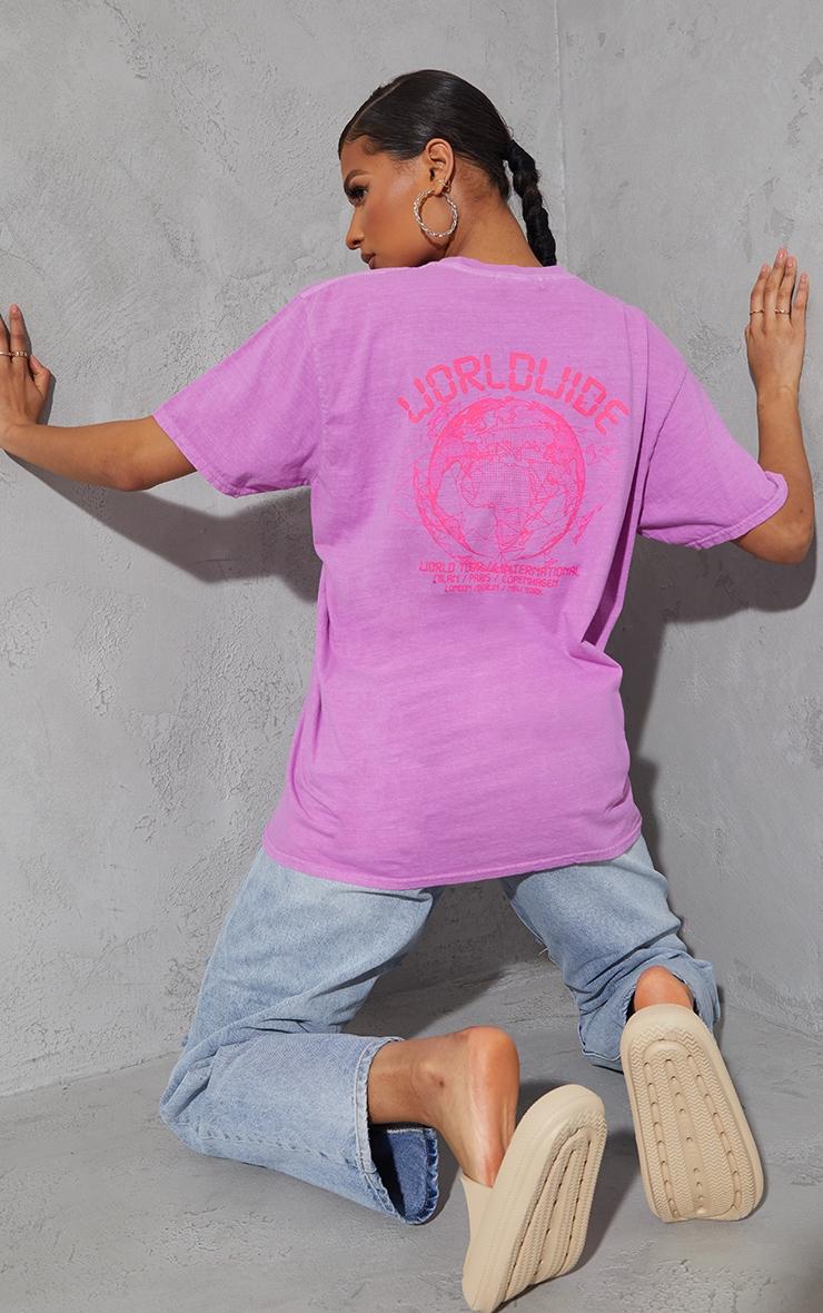 Violet Worldwide Back Print Washed T Shirt 1