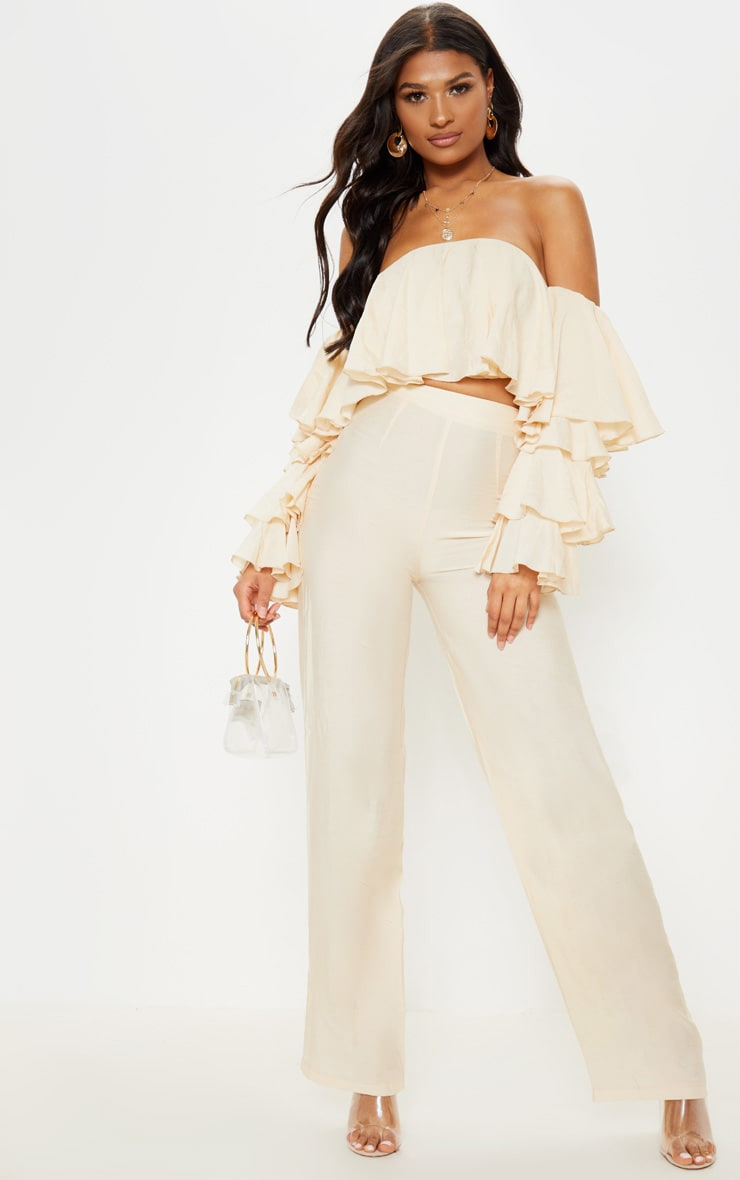 Cream Woven High Waisted Wide Leg Trouser 1