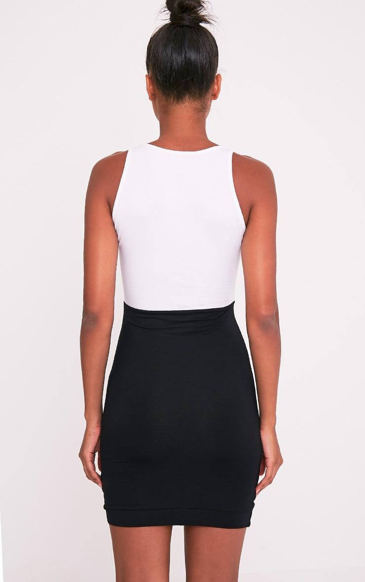 Ashleya Monochrome Scoop Neck Contrast Bodycon Dress 2
