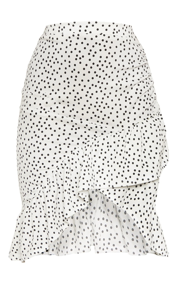 White Polka Dot Frill Midi Skirt 3