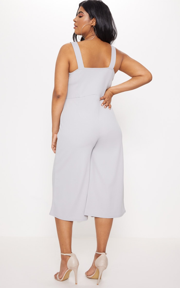 Plus Ice Grey Lace Up Detail Wide Leg Culotte Jumpsuit 2