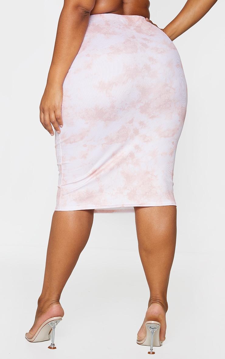 Plus Peach Tie Dye Rib Midi Skirt 3