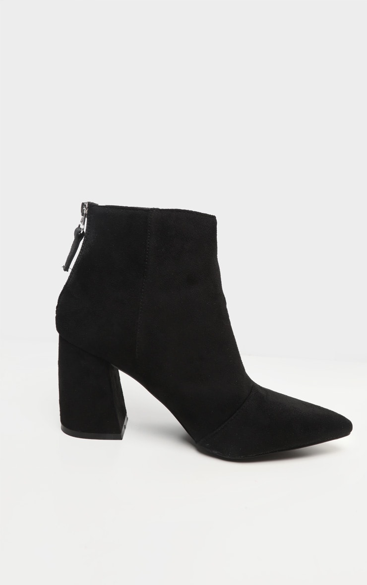 Black Curved Block Heel Ankle Boot 3