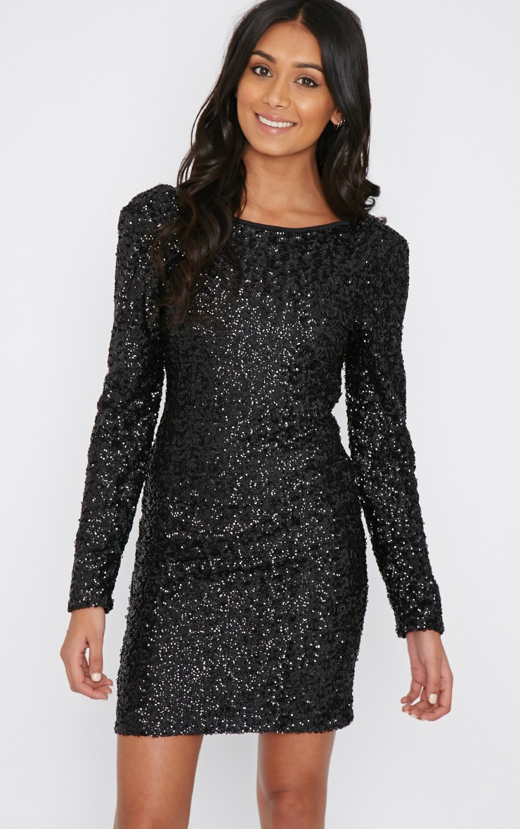 Danya Black Sequin Bodycon Dress 1