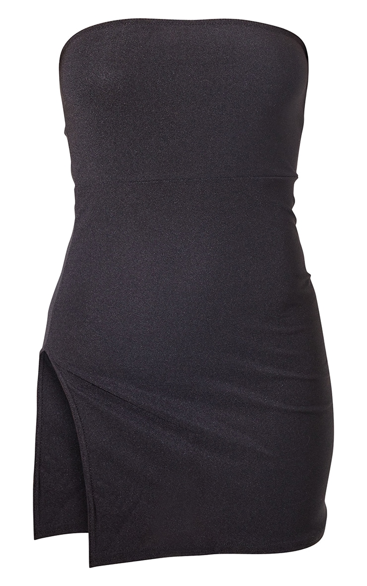Black Crepe Split Side Bandeau Bodycon Dress 6