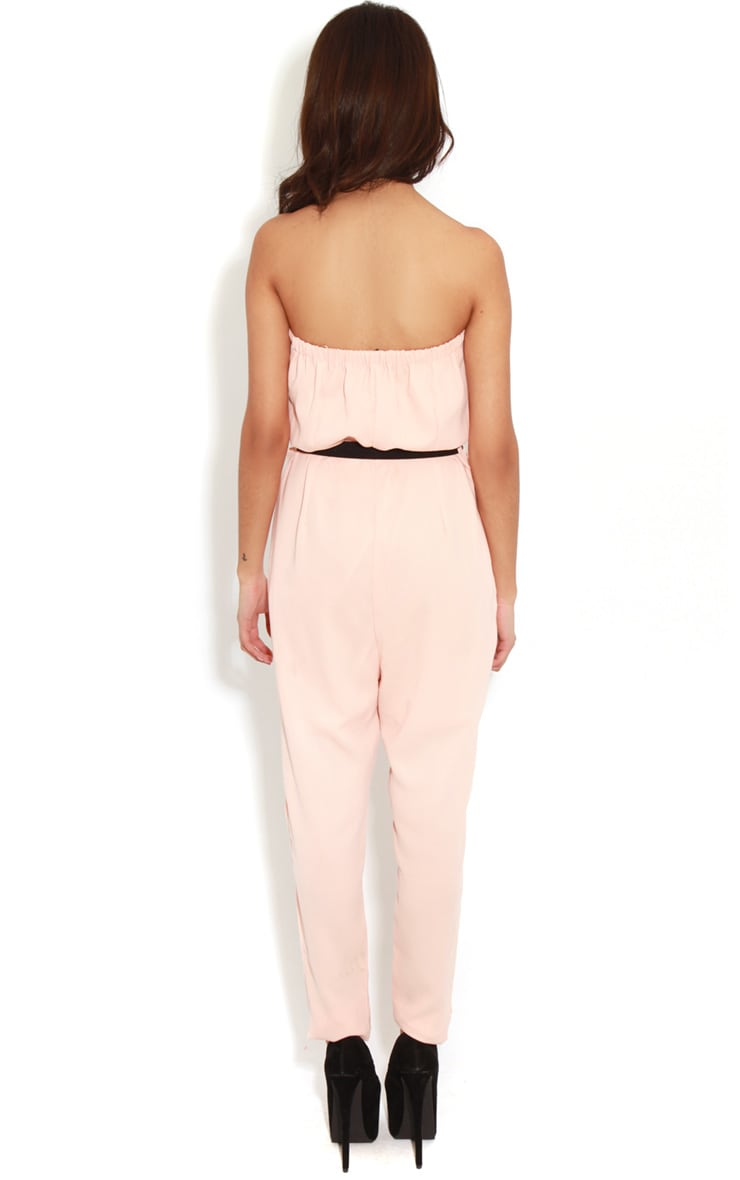 Ellie Peach Strapless Jumpsuit With Belt  2