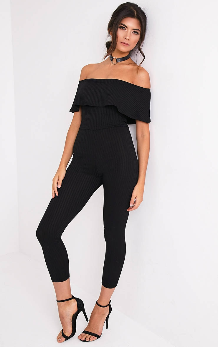 Nancy Black Bardot Ribbed Jumpsuit 1