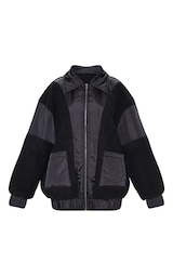 Black Borg Contrast Pocket Front Coat 3