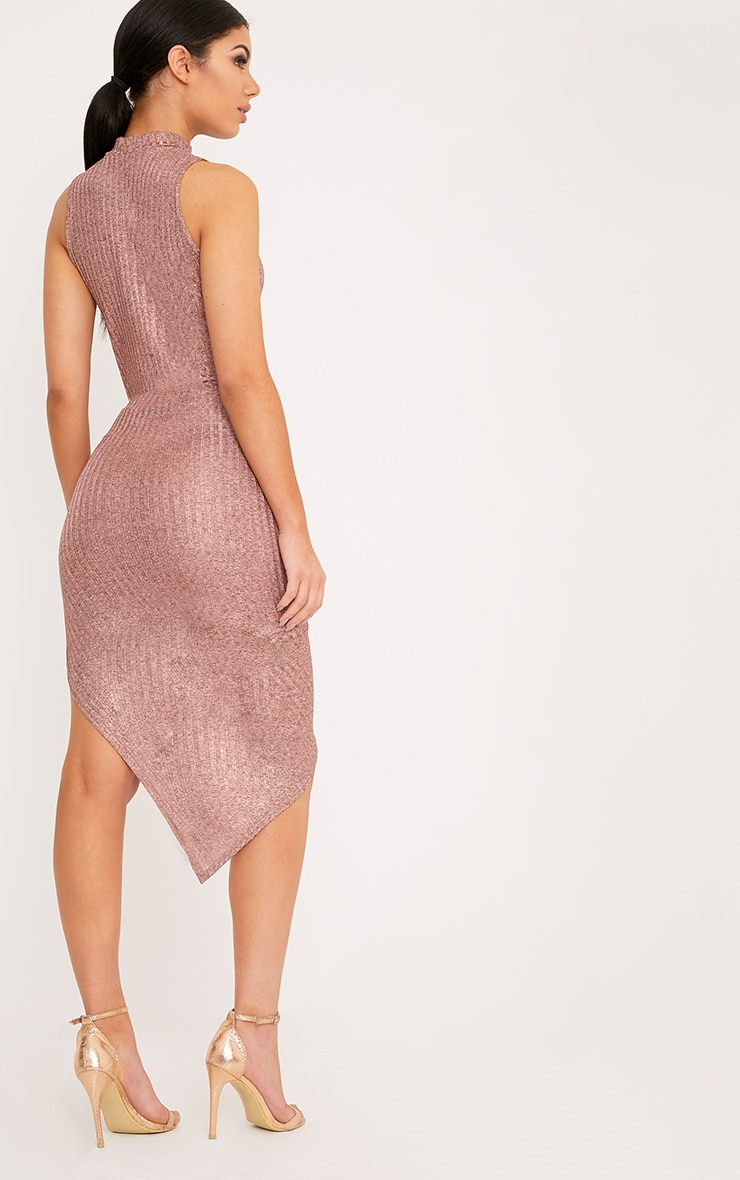 Prim Rose Gold Lurex Asymmetric Drape Dress 2