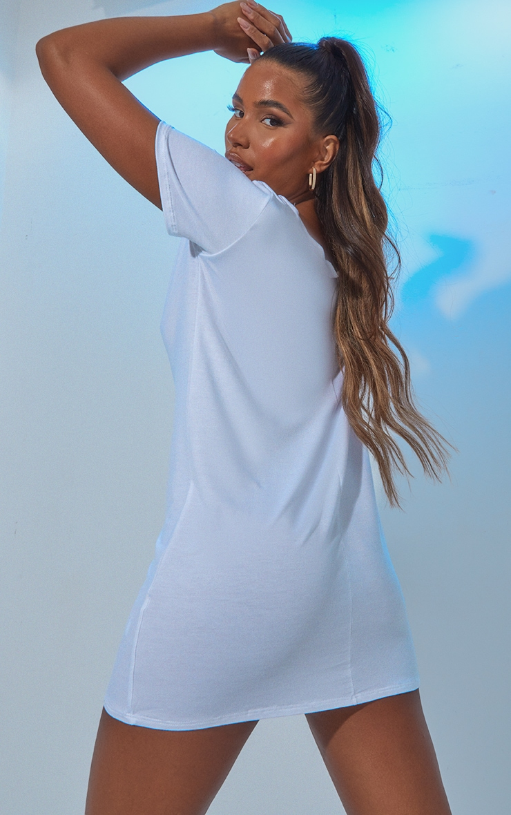 White Sleeveless Oversized T Shirt Dress 3