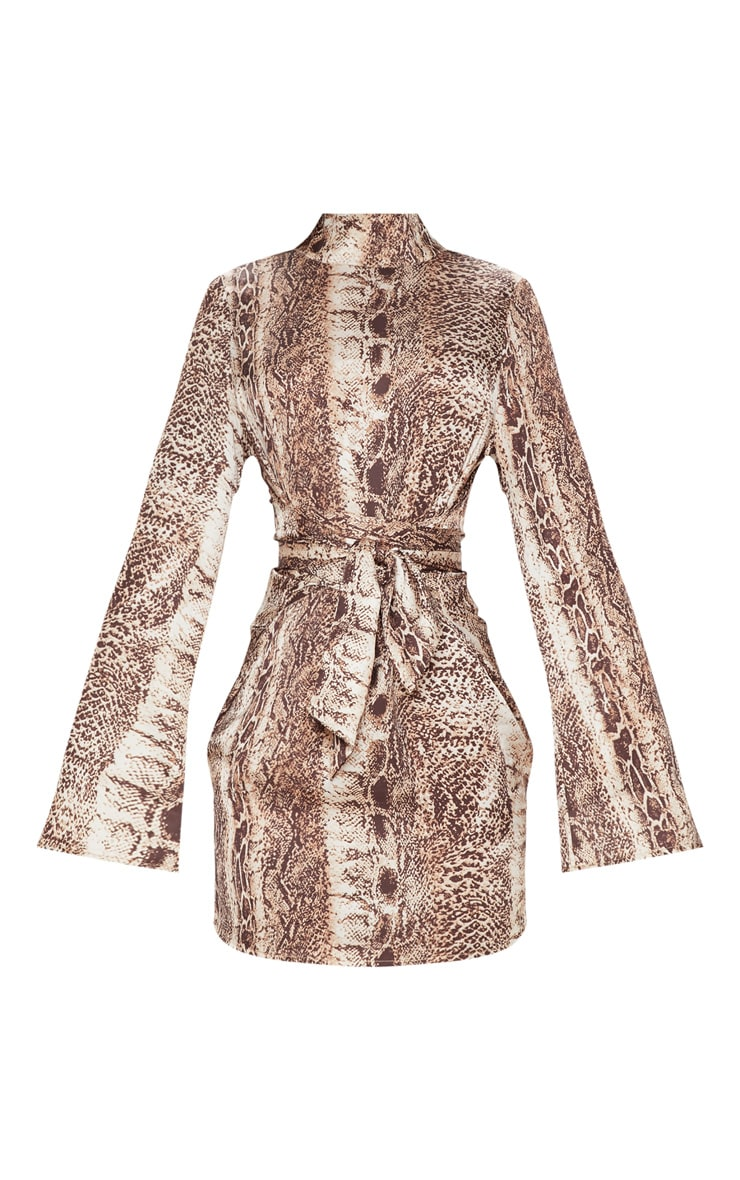 Tan Snake Print Satin High Neck Shift Dress 3