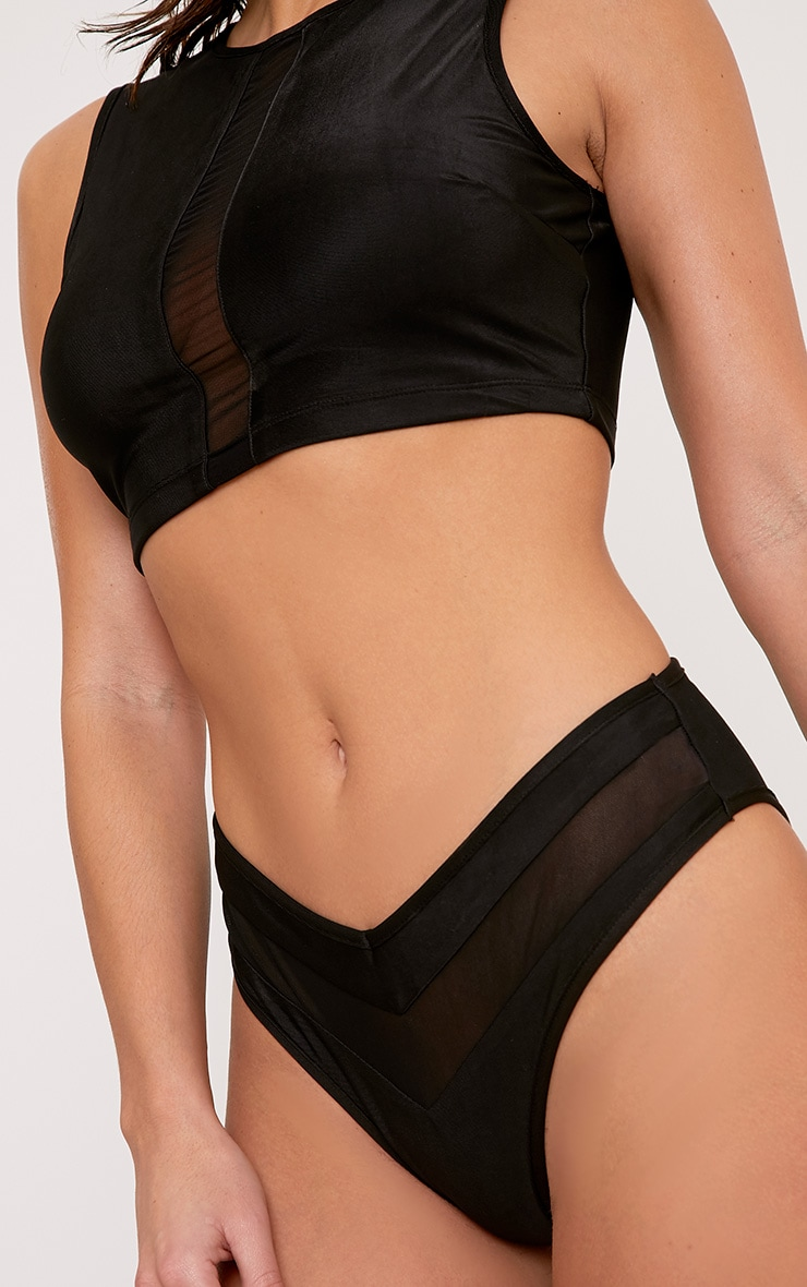 Ciara Black Mesh Panel Bikini Set 5