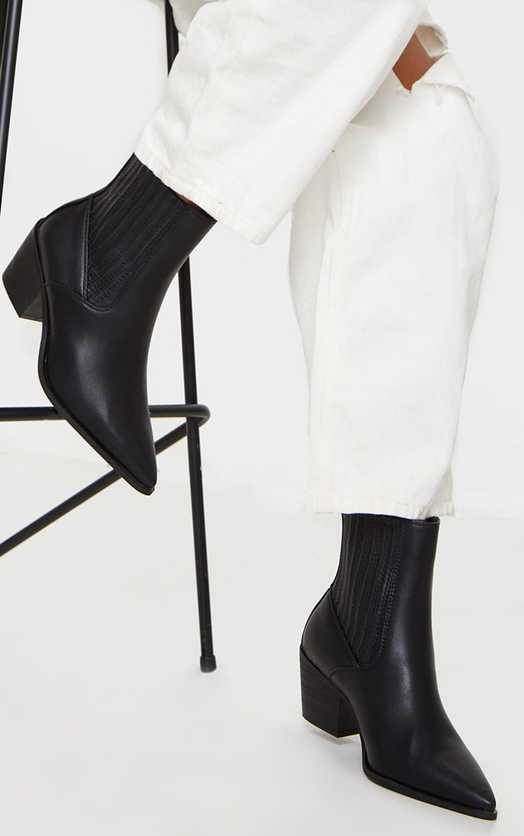 Black Wide Fit Western Ankle Boot