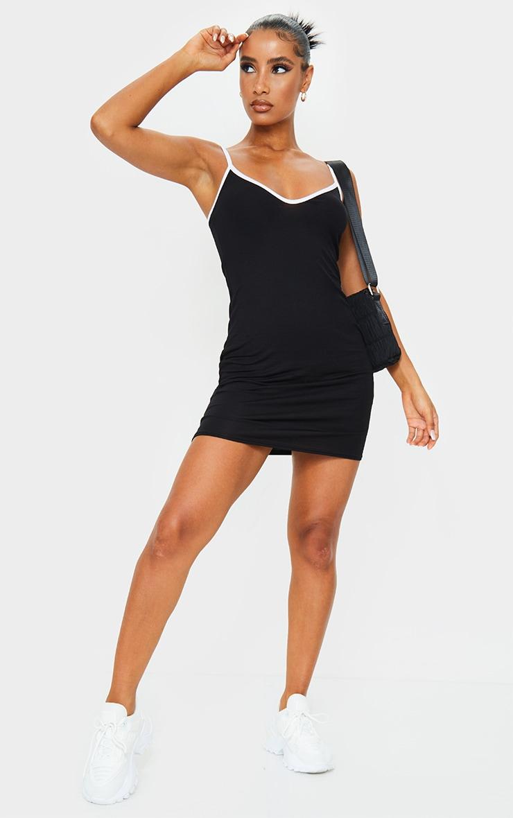 Black V Neck Binding Contrast Strappy Bodycon Dress 3
