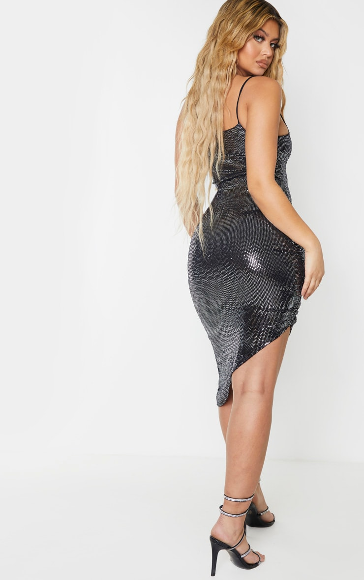 Silver Strappy Glitter Ruched Side Detail Midi Dress 2
