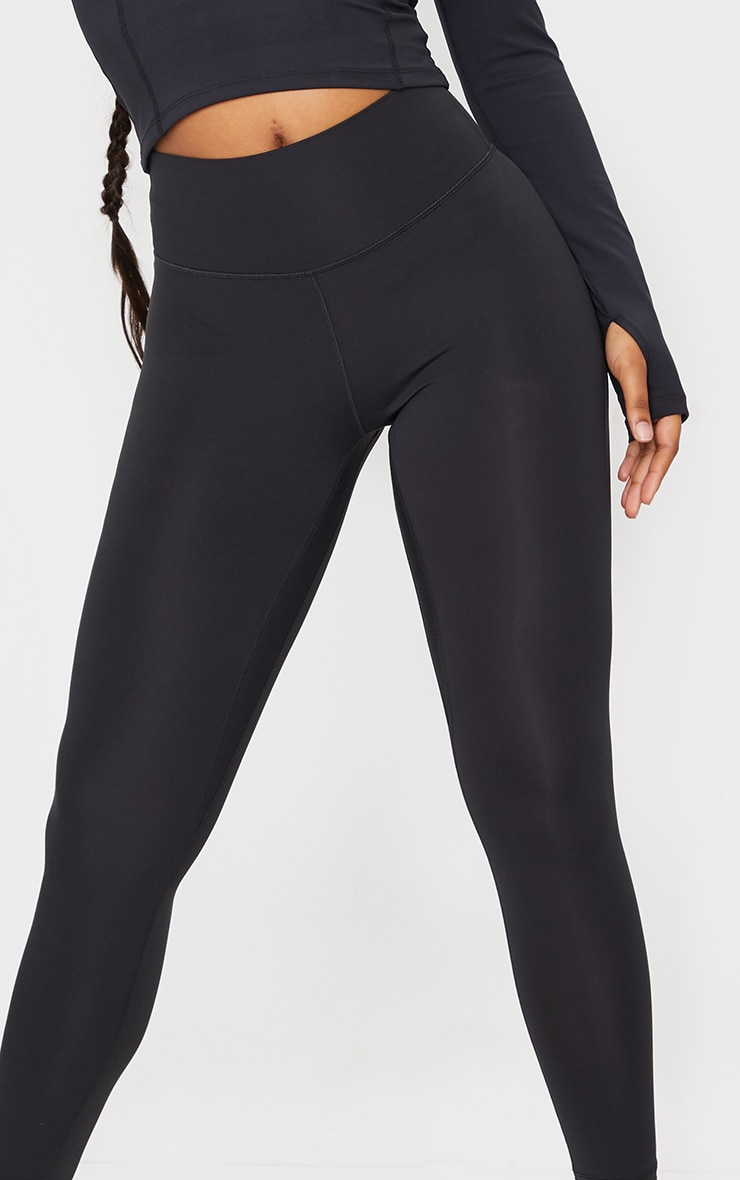 Black Brushed Luxe High Waist Cropped Gym Leggings 4