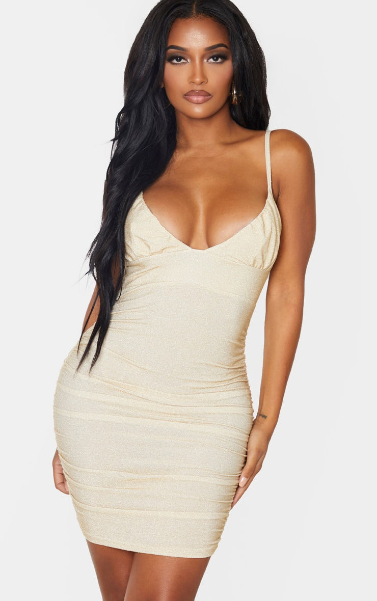 Shape Gold Glitter Ruched Cup Detail Bodycon Dress 1