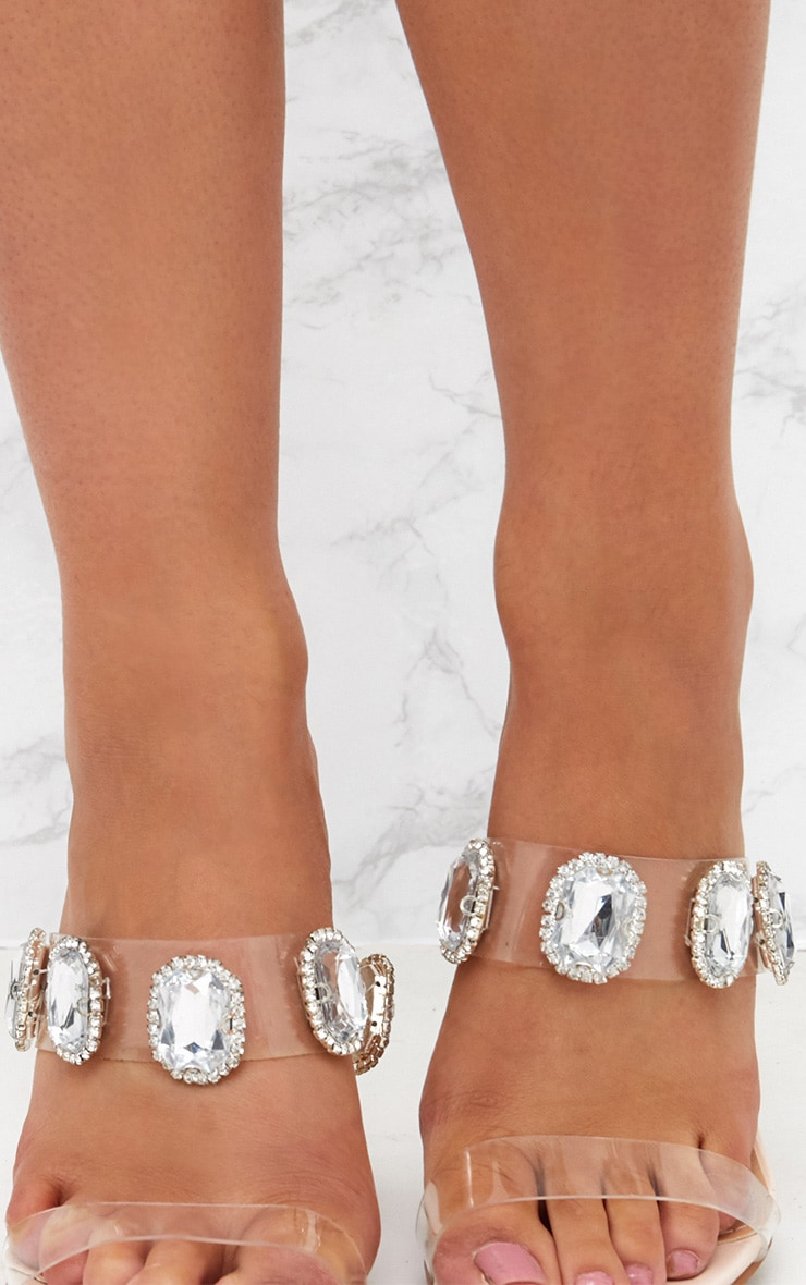 Nude Jewelled Clear Heeled Mules 5