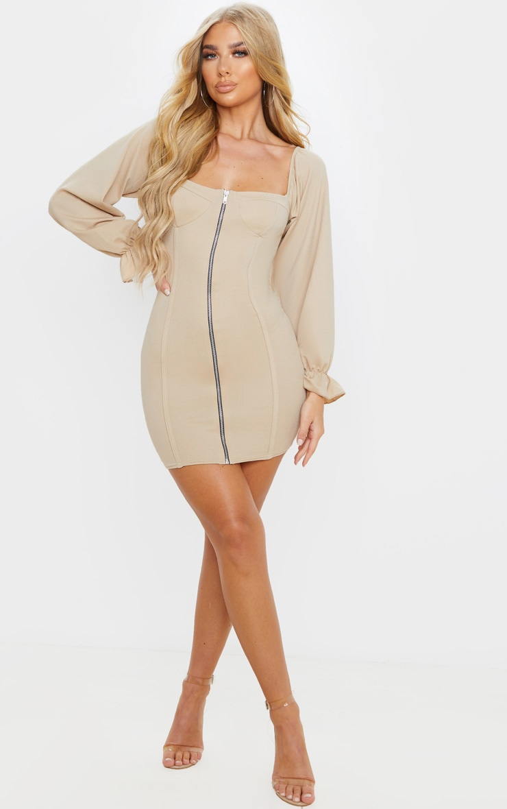 Fawn Zip Up Cup Detail Balloon Sleeve Bodycon Dress 4