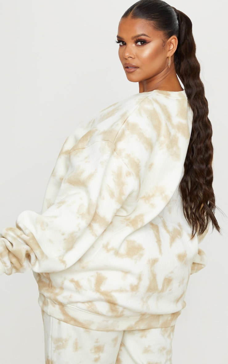 PRETTYLITTLETHING Plus Cream Tie Dye Embroidered Sweater 2