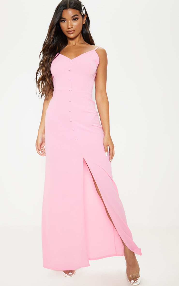 Pink Button Through Maxi Dress 1