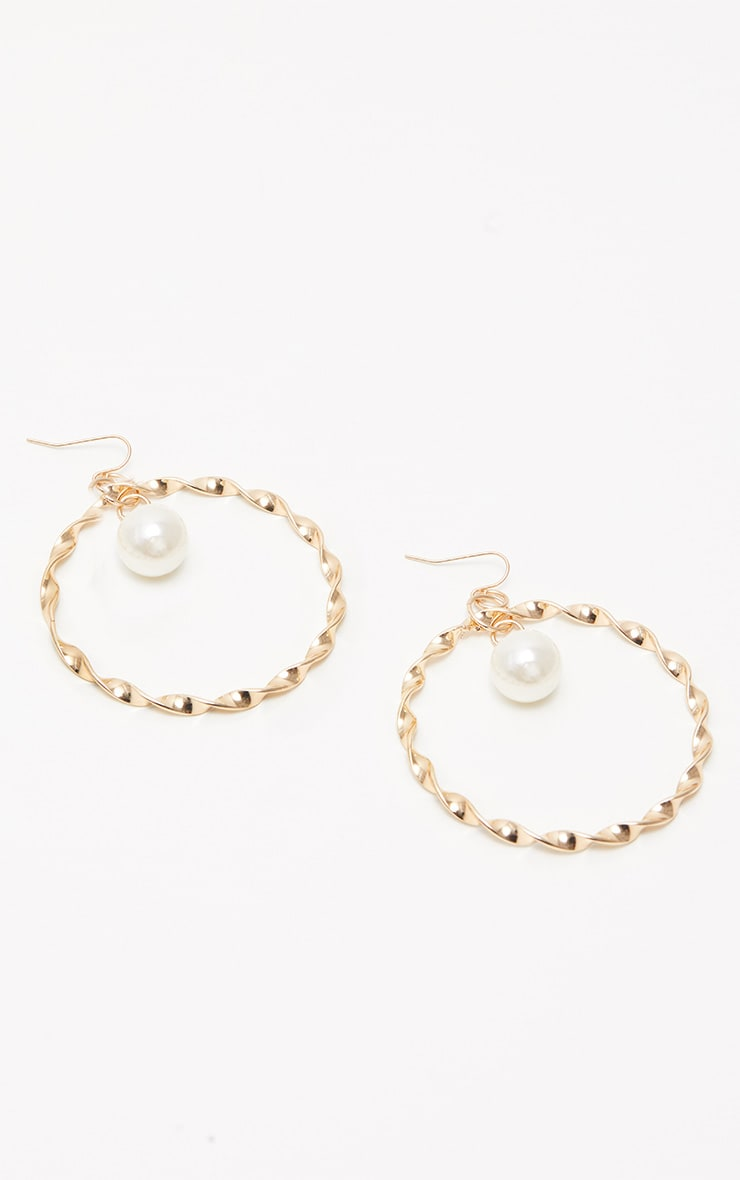 Gold Twist Pearl Hoops 2