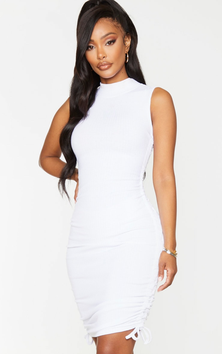 Shape White Thick Rib Ruched Side Sleeveless Bodycon Dress 1