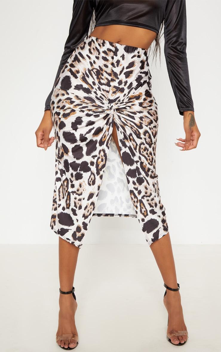 Leopard Print Twist Front Midi Skirt 4