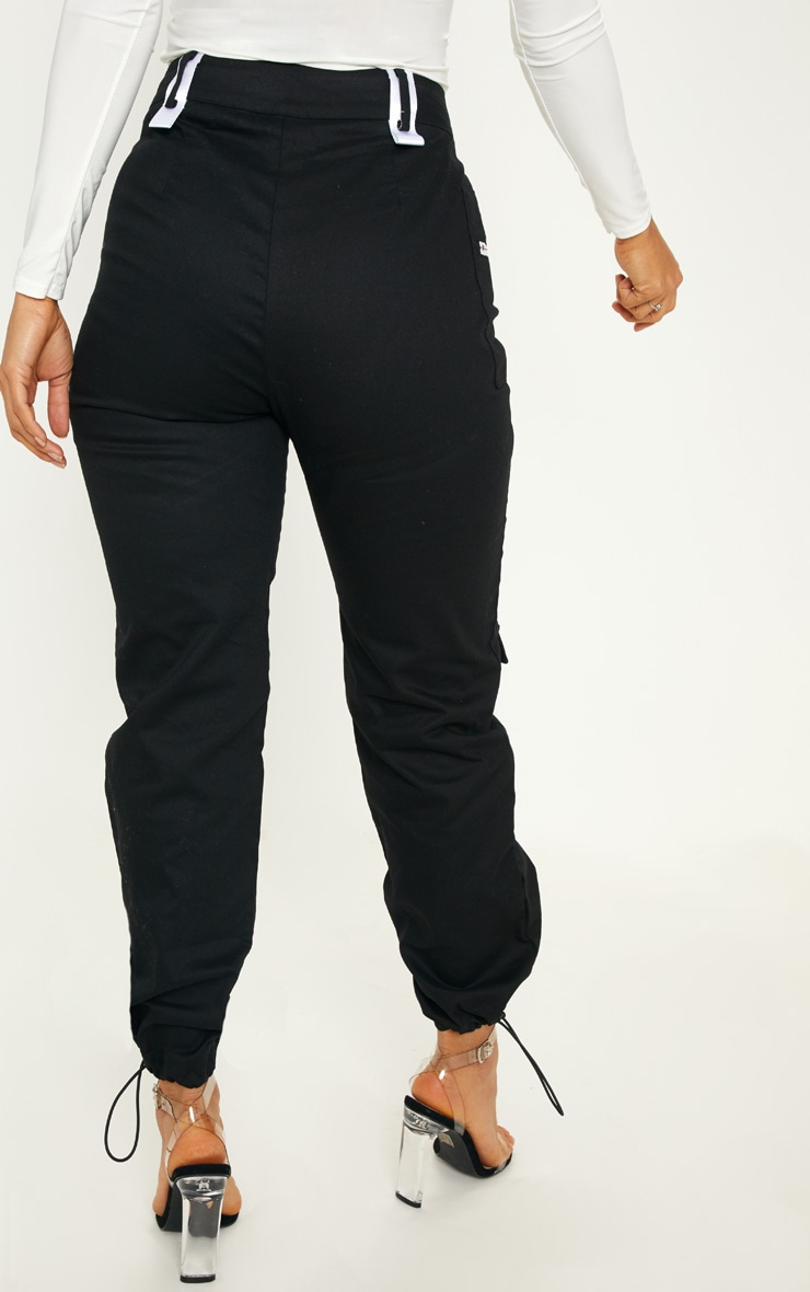Black Pocket Zip Detail Cargo Pants 4