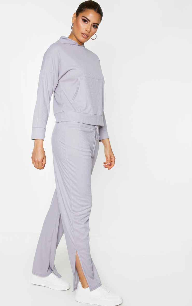 Tall Grey Ribbed Split Hem Flared Trousers 1
