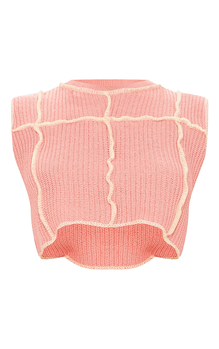 Peach Contrast Stitch Detail Knitted Top 5