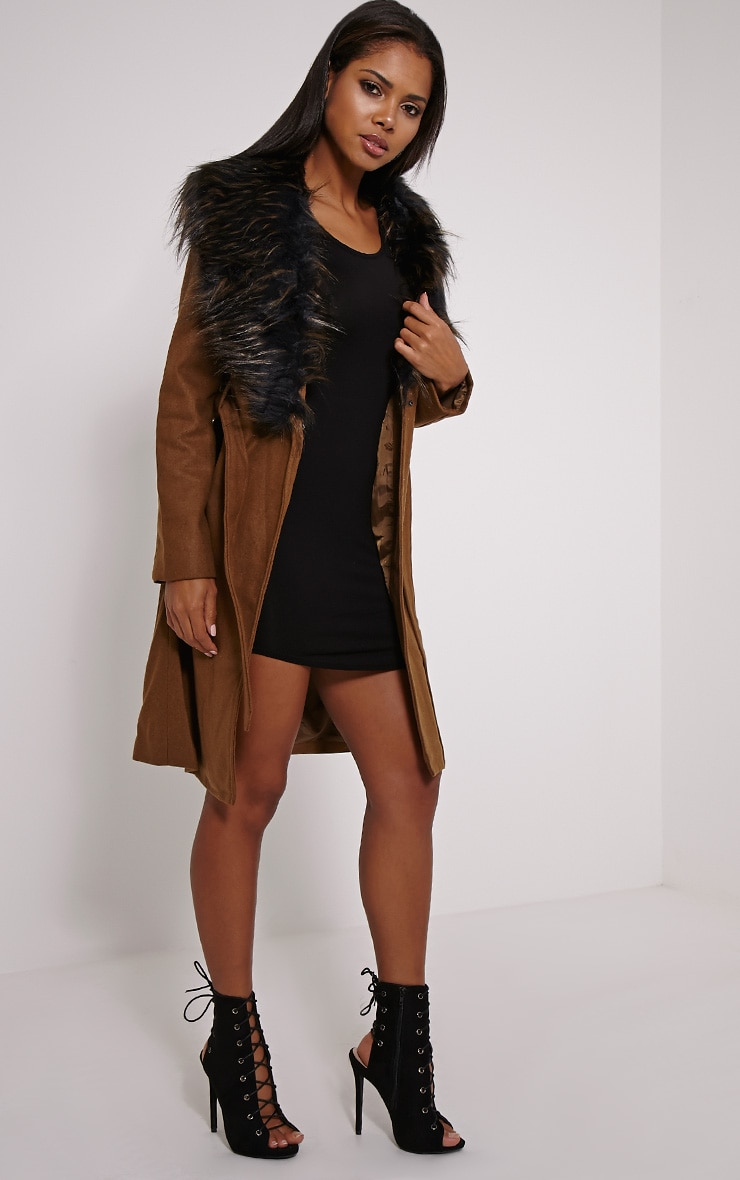 Kasey Tan Belted Faux Fur Collar Coat 4