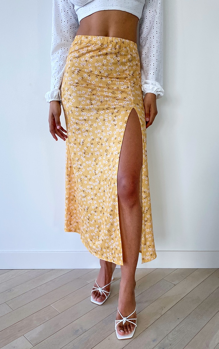 Tall Yellow Ditsy Floral Jersey Side Split Midi Skirt 2