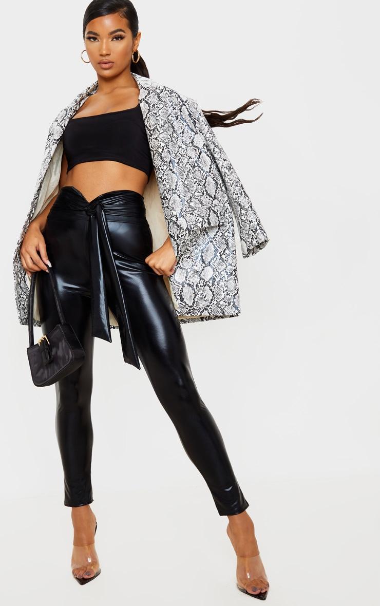 Black Shiny Belted Skinny Trouser 1