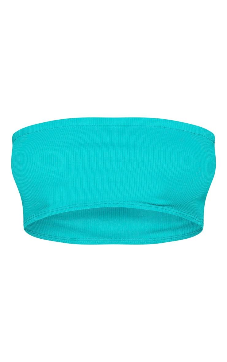 Turquoise Ribbed Bandeau Bikini Top 3