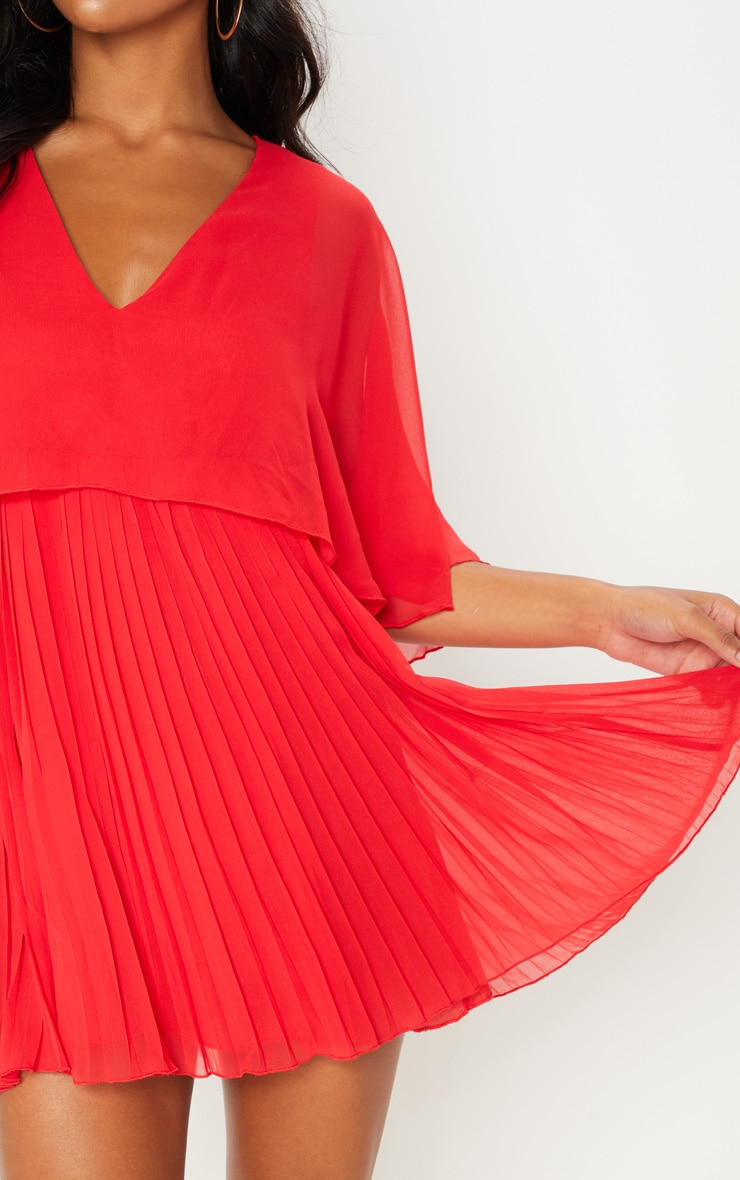 Red Cape Pleated Detail Skater Dress 5