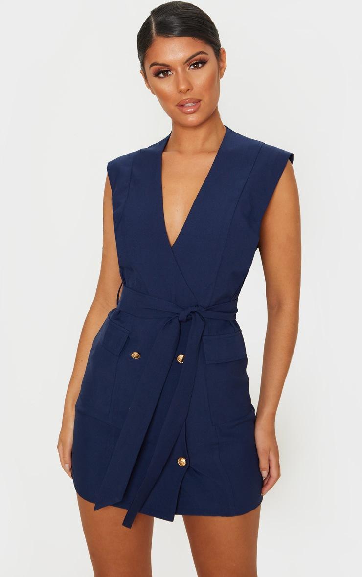 Robe bleu marine style blazer sans manches à boutons dorés 1