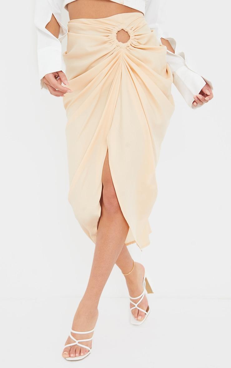 Nude Woven O Ring Cut Out Drape Midi Skirt 2