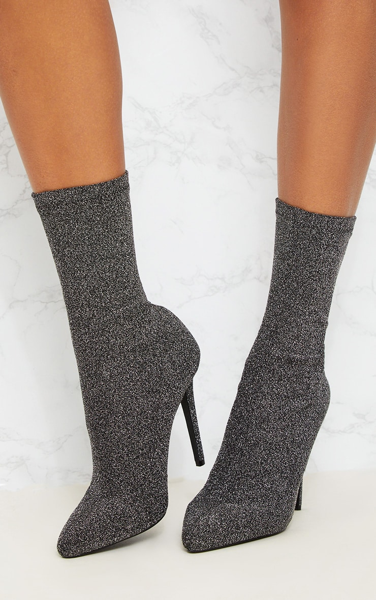 Black Glitter Sock Pointy Boots 2