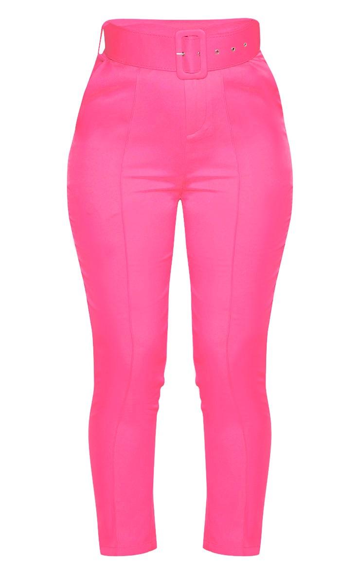 Hot Pink Belt Detail Front Seam Cigarette Pants 3