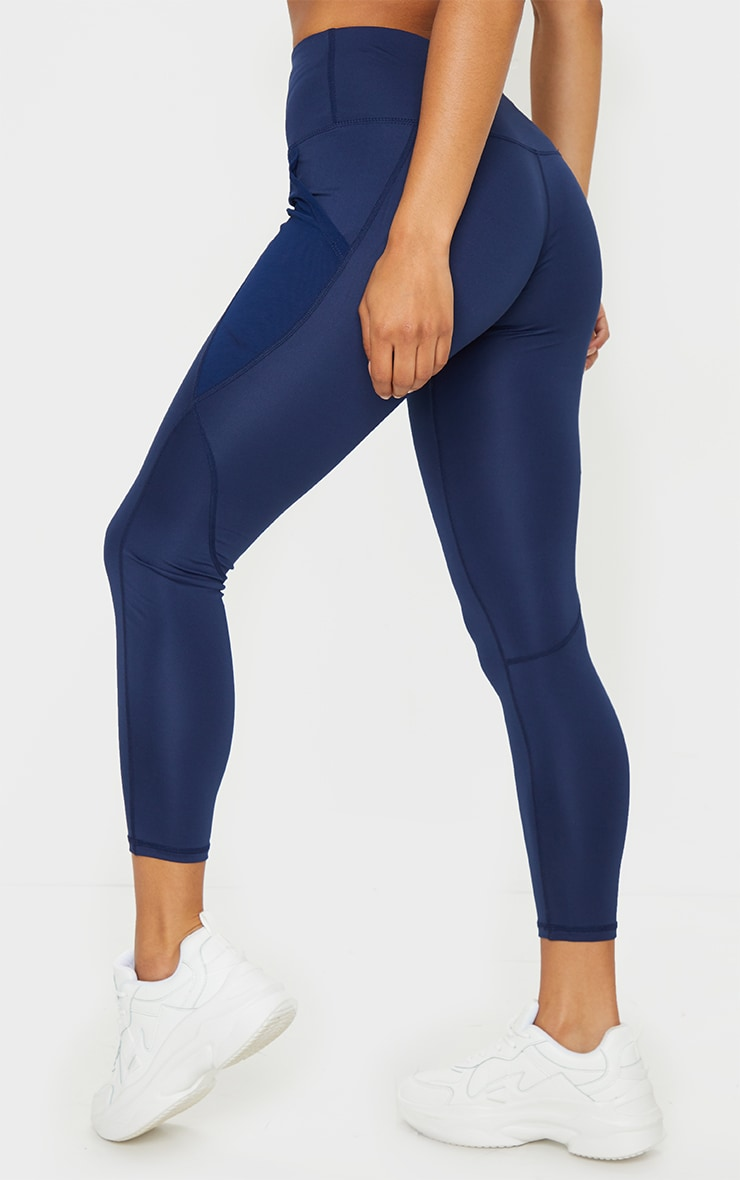 Navy Side Pocket Basic Leggings 3