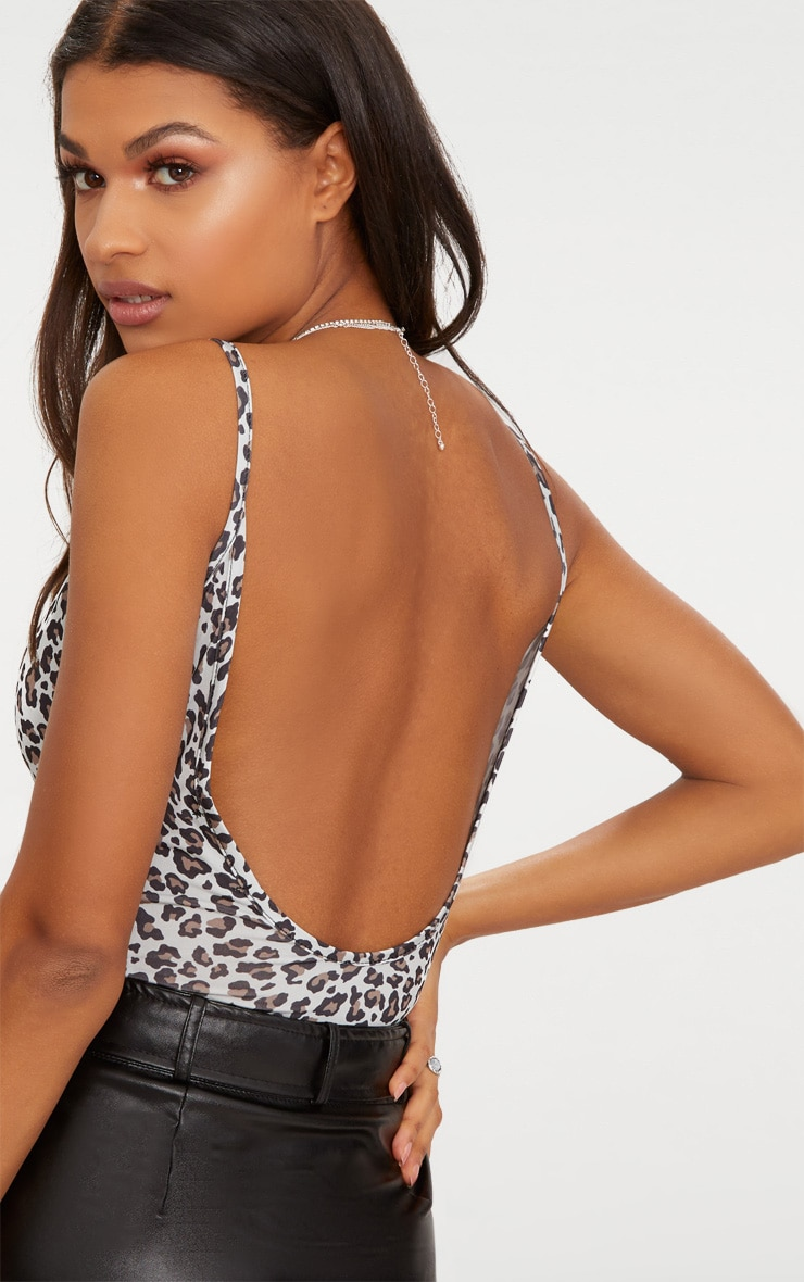 Grey Slinky Leopard Scoop Neck Thong Bodysuit  6