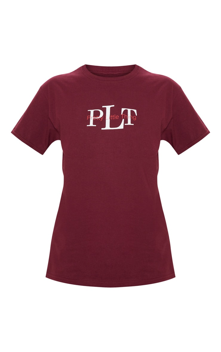 PRETTYLITTLETHING Burgundy Oversized Slogan T Shirt 3