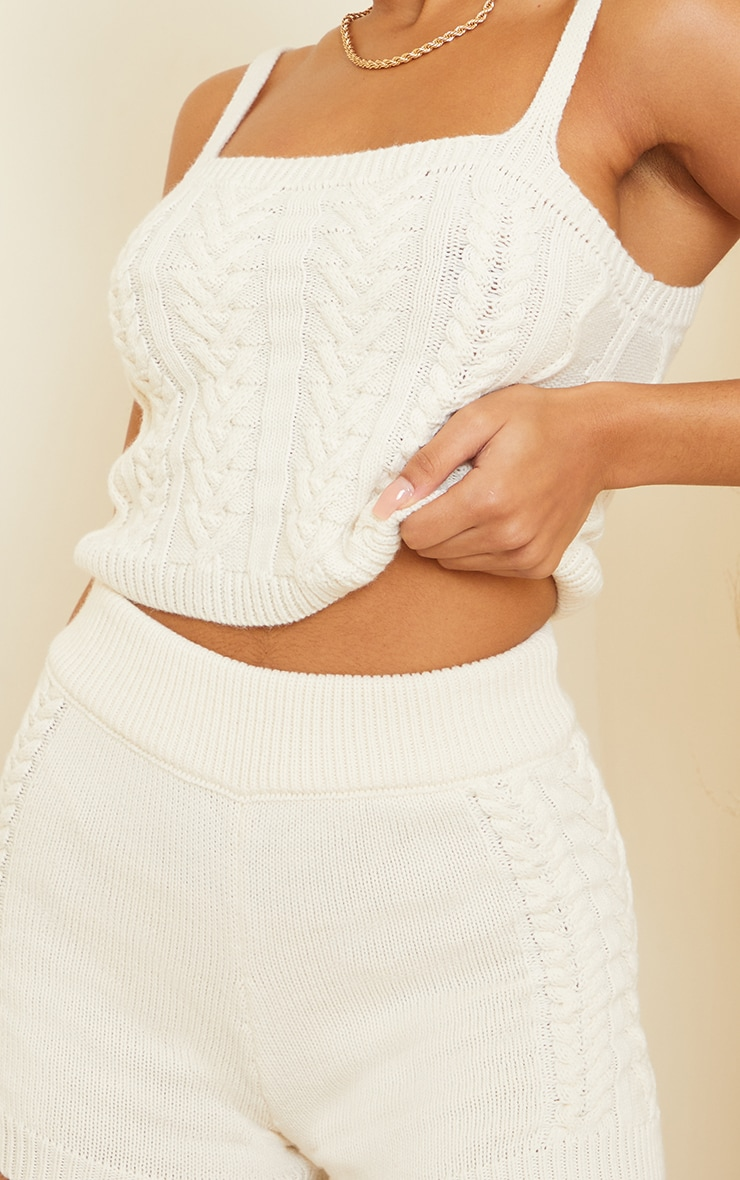 Cream Cable Knitted Bralet Set 4