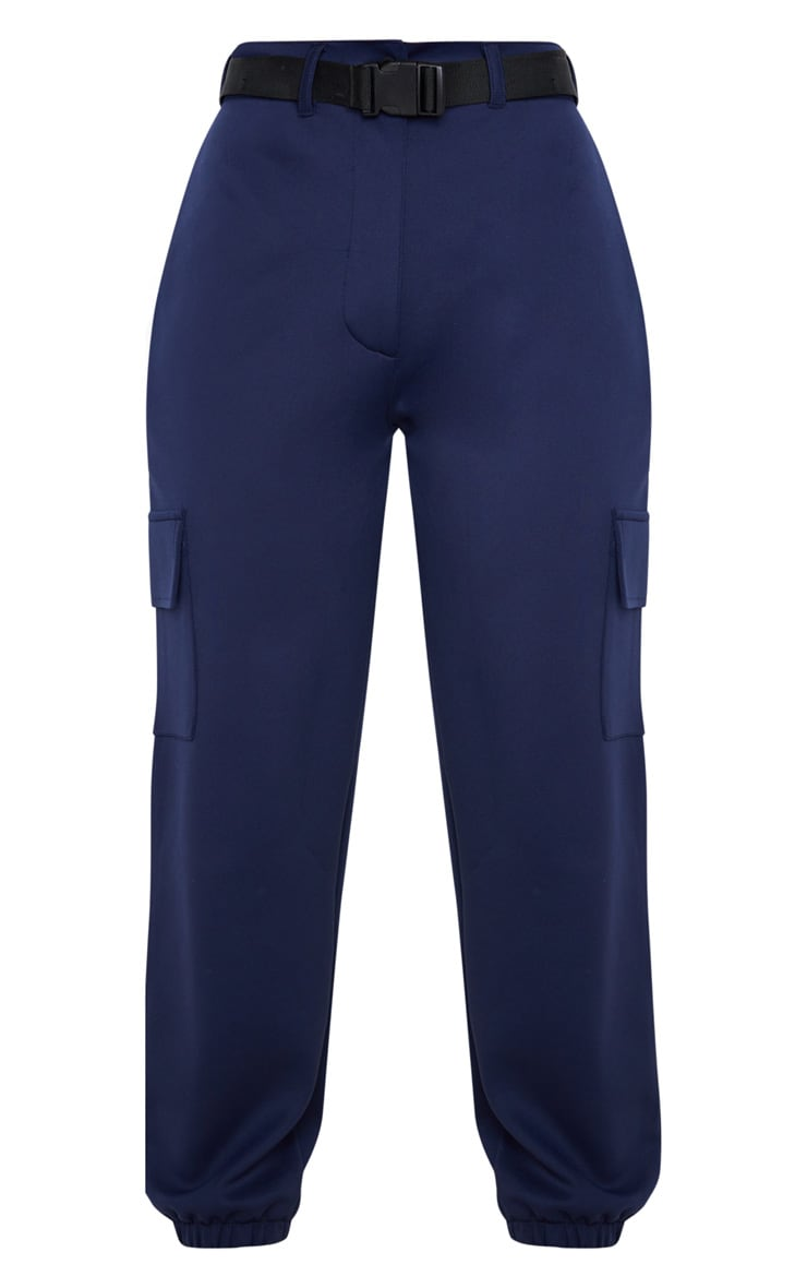 Navy Belted Scuba Cargo Trousers 3