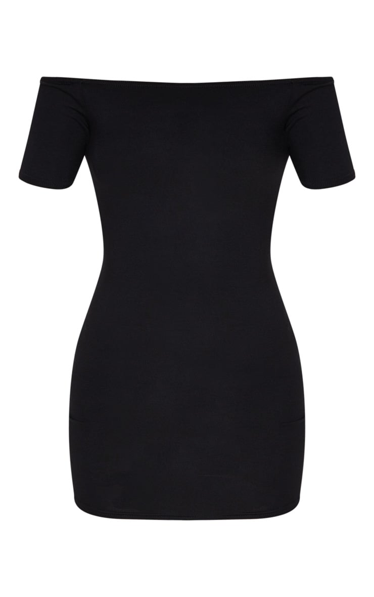 Basic Black Short Sleeve Bardot Bodycon Dress 5